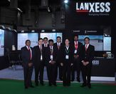 Dr. Rita Dicke, Vice President - Liquid Purification Technologies APAC and Mr. Prakash Shanmugam, Head of Liquid Purification Technologies (LPT), LANXESS India, along with LPT team at the LANXESS Aquatech booth.